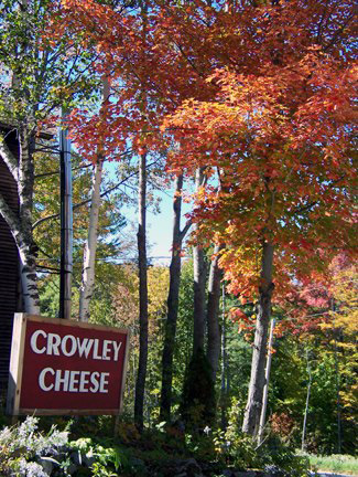 Crowley Cheese Sign in Fall